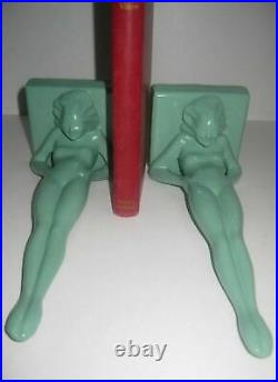 Frankart standing nymphs bookends art deco in green metal 9-1/4 tall a pair USA