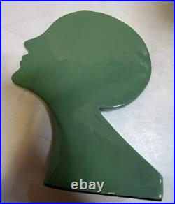Frankart style art deco nymph head bookends green all metal a pair made in USA