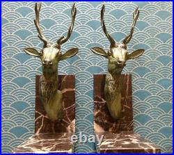 French 1930's Deco Stag head bookends on solid marble bases-Excellent condion