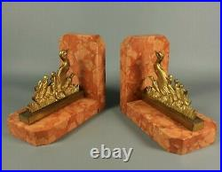 French Antique ART DECO Bookends Gilt Bronze Mother Duck Marble Base Pair 1930s