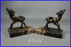 French Antique ART DECO Bookends Spelter Bronzed Deer Fawn Marble Base Pair
