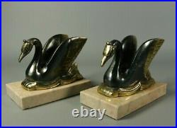 French Antique ART DECO Bookends Spelter Bronzed Swans Marble Base Pair 1930s
