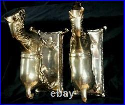 French Antique ART DECO Pair Horses Bookends Bronze Brass Vintage Statue
