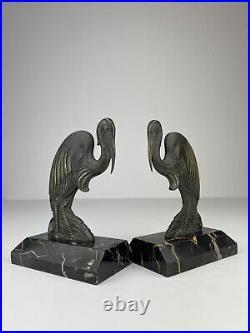 French Art Deco Figuren Buchstützen Bookends Marabu Vogel Bronze Frankreich RAR