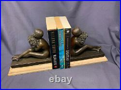 French Art Deco Style Bronze Bookends, Woman holding Flowers, J. B. Deposee