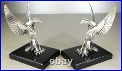 French Art Deco Stylized Bronze Eagles Car Mascots Bookends by BOURCART c. 1925