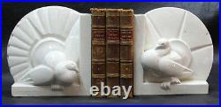 French St Clement Charles Lemanceau Art Deco PAIR doves peacock book ends