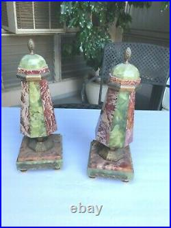Gorgeous Art Deco Rosso Marble & Brazillian Green Onyx Garnitures Clock Bookends