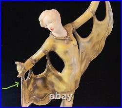 HIRSCH Gerdago DECO Desk Lamp caped dancer en pointe on alabaster base RARE