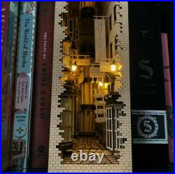 Harry Potter Wooden DIY Bookends Diagon Alley Bookshelf Model With Light Gift