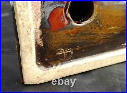 Interesting Antique Signed Pottery Tree Stump Fox Bookend Australian English