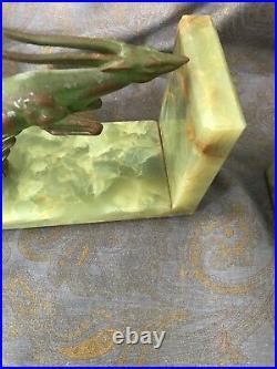 J. B. HIRSCH ART DECO ANTELOPE/GAZELLE BOOKENDS on MARBLE