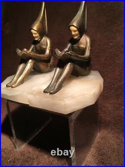J. B. Hirsch Art Deco Pixie Bronze Reader Book Ends (circa 1920-1930)