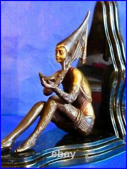 Josef Lorenzl RARE Antique Art Deco Pair of Bronze Marble Gerdago Lady Bookends