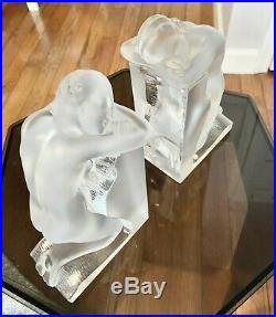 LALIQUE Reverie Nude Bookends Art Deco Frosted Clear & Crystal France 9h, 8lb