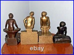 LOT Of 5 ART DECO NUDES, FRANKART, APT NY, NUART STATUE TRAY Tray Bookends Mark