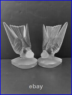 Lalique Deux Hirondelles (two Swallows) Bookends Flawless