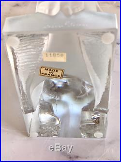 Lalique Reverie Bookends #11850 Mint French Crystal Signed Retail $4300