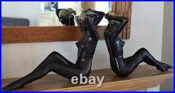 Large Pair Of Antique Heavy But Hollow Brass Figure Of Nude Ladies Bookends
