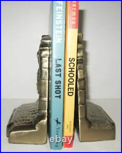 Lindbergh Airplane NX-211 bookends art deco antique brass and heavy, a pair USA