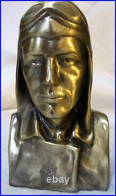 Lindbergh head bust the aviator NX-211 bookends art deco brass metal pair USA