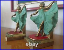 Loie Fuller Art Deco polychrome metal bookends