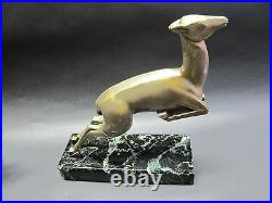 MARCEL-ANDRE BOURAINE (French) Art Deco Bronze Gazelle Bookends c. 1920 antique