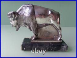 MAX LE VERRIER Art Deco Bison Buchstützen sculptures bookends Bronze versilbert