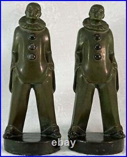 Max Le Verrier Art Deco Pierrot Figurines / Bookends 1930's original France