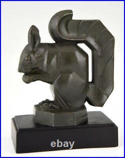 Max Le Verrier Art Deco squirrel bookends France original 1930