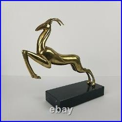 Mid Century Brass Gazelle Deer Bookend Statue Marble Art Deco 10in