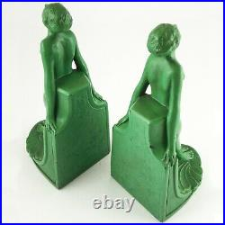 NUDE Figural Art Deco Metal Bookends, Original Green Paint, Numbered, HEAVY