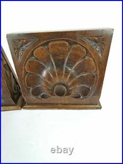 Oak Bookends Art Deco Floral Acanthus Acroteria 1920s Wood Pair Antique