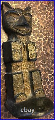 Old Iron Totem Pole Doorstop/bookend Gold Paint Northwest Coast & Art Deco Style