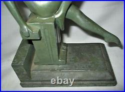 One Antique Art Deco Nuart Frankart Era Nude Lady Bust Statue Sculpture Bookend