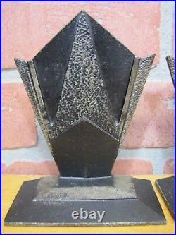 Orig Art Deco Cast Iron Decorative Arts Geometric Bookends 1920s era book ends