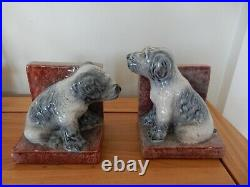 Original Art Deco Sculpted Dog Bookends Signed PAC Active 1930s originals