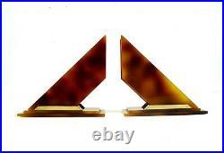 Original French Avantgarde Art Deco Geometric Bakelite Catalin Bookends