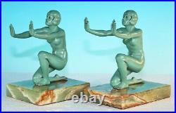 Original Pair Art Deco Kneeling Figural Nude Bookends Frankart Era
