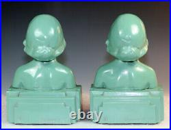 Original Pair Frankart Art Deco B417 Head Bookends