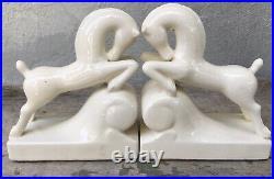 Outstanding Vintage White Horse Art Deco Moderne Elegant Porcelain Bookends