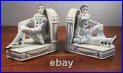 PAIR Antique German Porcelain Pierrot French Art Deco Clown Bookends
