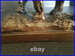 PAUL HERZEL 20th c. American BRONZE ELEPHANT SCULPTURE BOOKENDS RARE