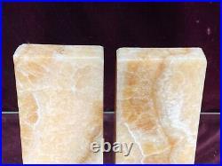 PR. VTG. Alabaster Art Deco Bookends Hand Carved Rock Marble Stone Bookends