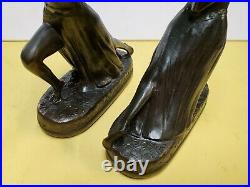 Pair 1920's Era Art Deco Egyptian Style Bronze Figural Bookends
