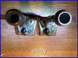 Pair Antique Bronze Bookends Candlesticks Superior Condition Exquisite Details