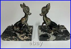 Pair French Art Deco Bambi Book Ends circa 1940
