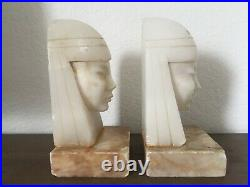 Pair Italian Art Deco Egyptian Revival Alabaster Marble Bookends Woman Bust Head
