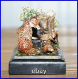 Pair Of Circa 1920 Austrian Vienna Cold Painted Bronze Bookends Hound & Foxes