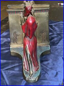 Pair Of Original Art Deco Dated 1924 & L. V Aronson Enameled Eqyptian Bookends